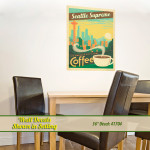 Seattle Coffee wall decal in dining room.