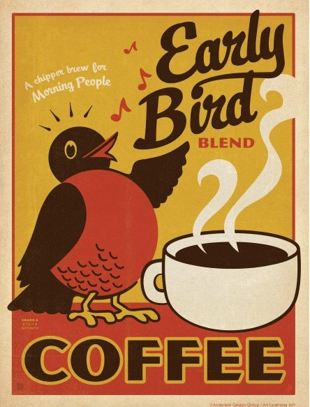 Early Bird Coffee Wall Decal