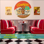 Breakfast wall decals in diner booth setting