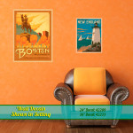New England, Boston wall decals in setting.