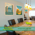 Image of dining room and living room and travel wall decals.