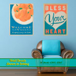 Design image of southern wall decals in sitting area.