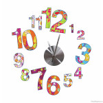 Retro Patchwork Flowers Wall Decal Clock
