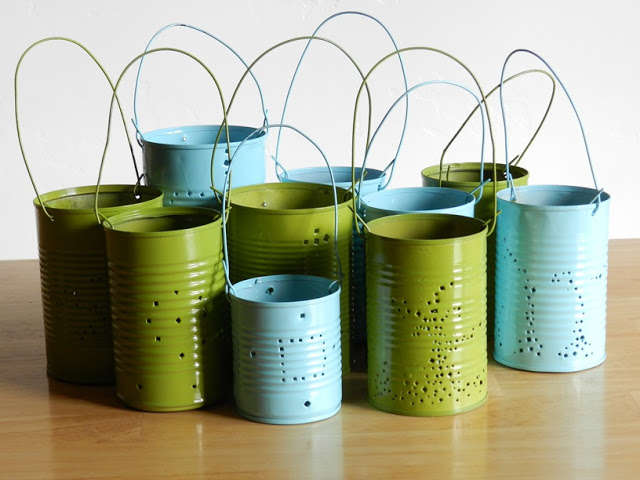 Retro Painted Tin Can Lanterns