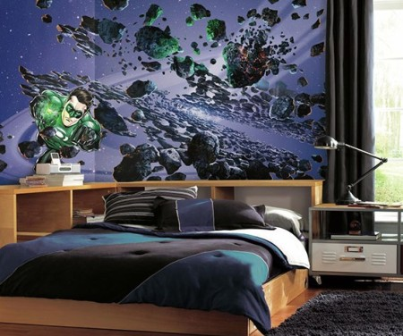 Fabulous This Green Lantern wall mural is a giant u wide by u high Because you apply using panels these murals can seamlessly turn a corner of a room