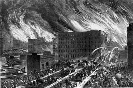 Artist rendering of the Great Chicago Fire in 1871
