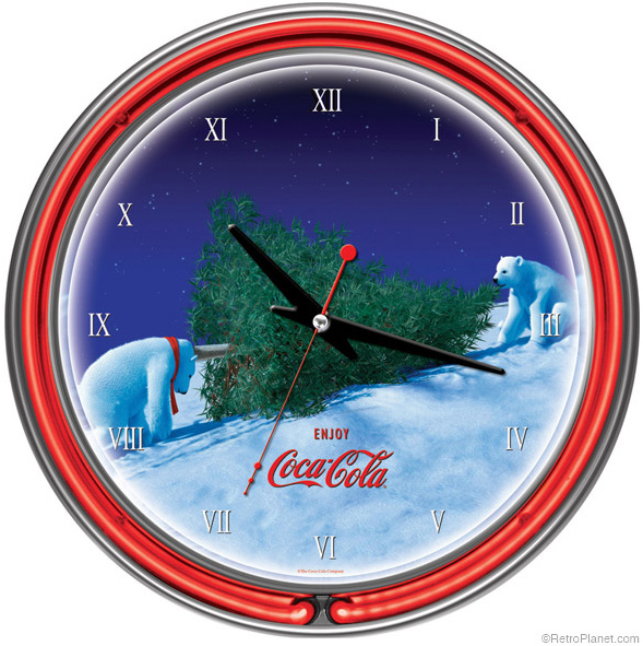 Polar Bears Christmas Tree Neon Clock