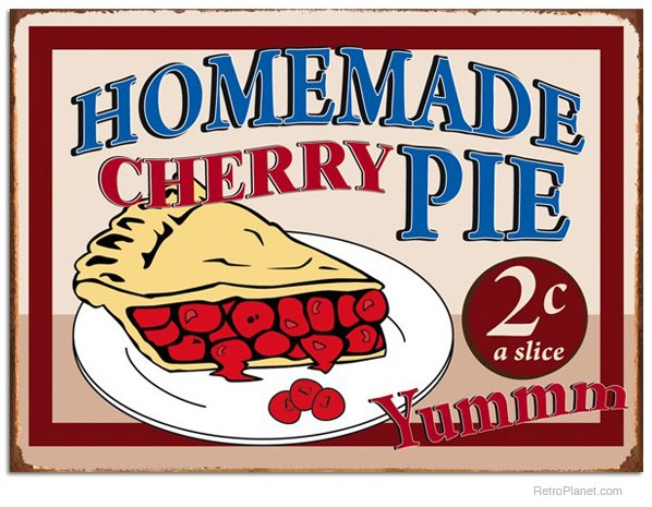 Homemade Cherry Pie Vintage Tin Sign