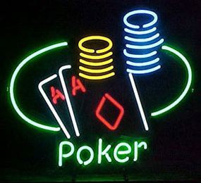 Poker Table And Chips Neon Sign