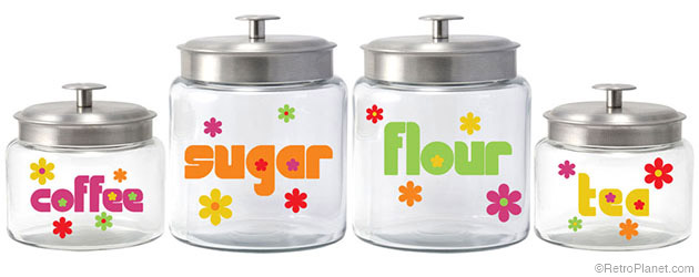 70s Flowers Jar Set with Aluminum Lids