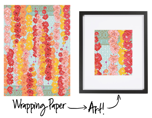 Example of turning gift wrap into artwork