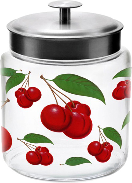 Realistic Cherries 96 oz Glass Jar with Metal Lid