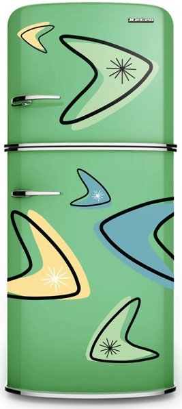 Retro Fridge decorated with Boomerang Decals