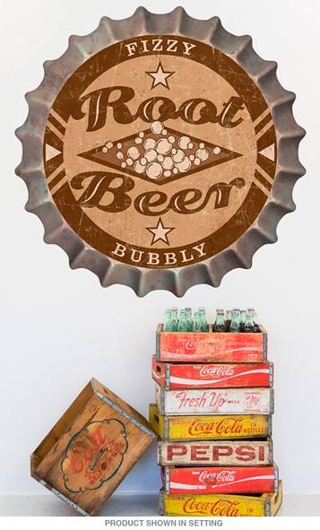 Root Beer Bottle Cap Wall Decal