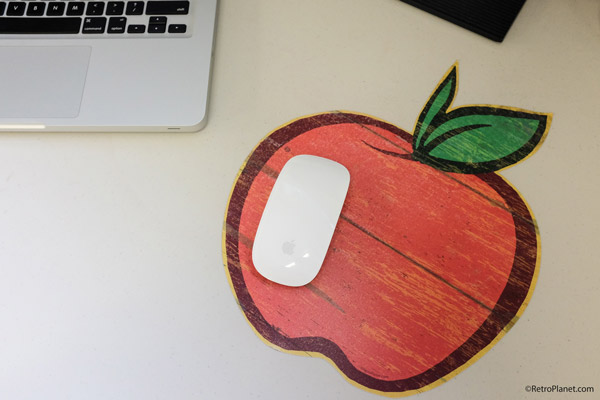 Wood Look Apple Decal as a Mouse Pad