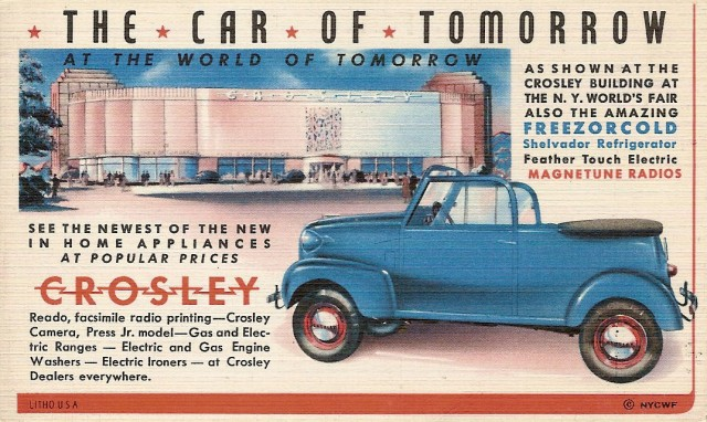 Crosley Car: 1939 World's Fair Flyer Postcard