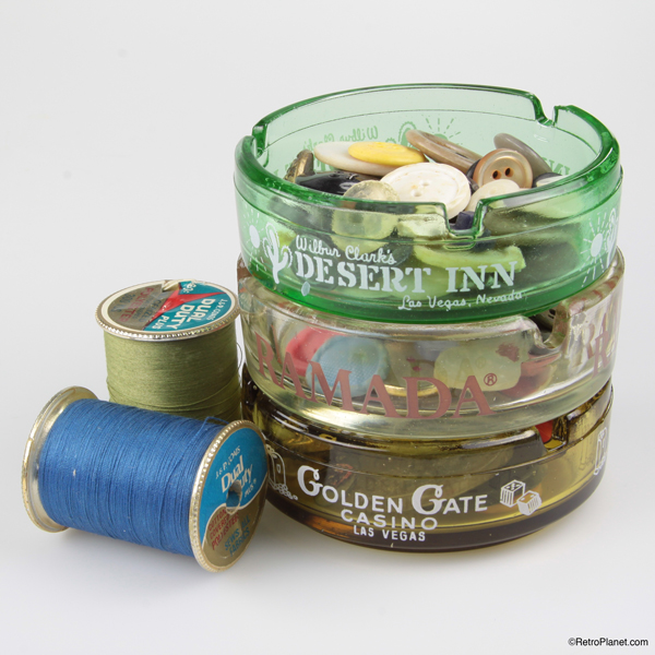 Ashtrays filled with sewing buttons