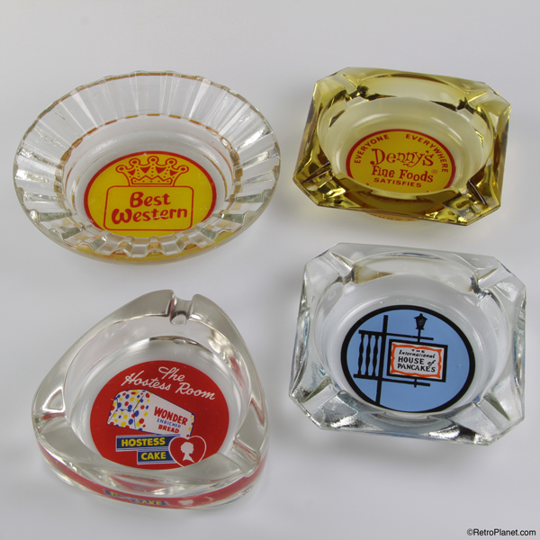 Array of vintage branded ashtrays