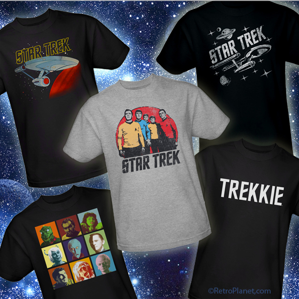 Display of 5 Star Trek T-Shirt Designs