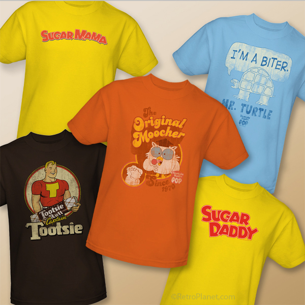 Collection of vintage candy tees, including Tootsie, Sugar Daddy and Sugar Mama.