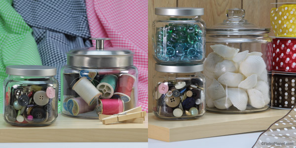 Jars filled with thread, buttons, crafting embellishments and more.