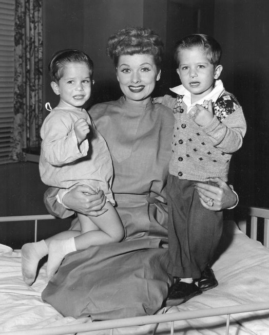 Lucy holding twins Mike (left) and Joe Mayer, both of whom played little Ricky.