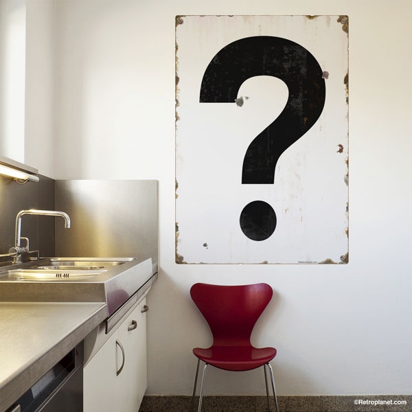 Black question mark wall decal