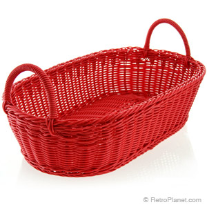 Red wicker style bread basket.