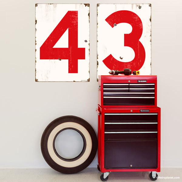 Numbers Wall Decals in Red applied to workshop wall