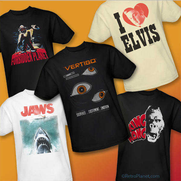Image of vintage t-shirts - Elvis, Vertigo, Jaws, Forbidden Planet and King Kong.