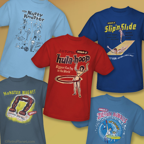 Collection of Wham-O T-Shirts - Hula Hoop, Slip n Slide, Nutty Knotter, Monster Magnet and Zillion Bubbles!
