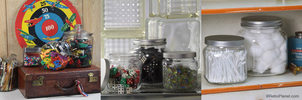 Jars filled with toys, cotton balls and tacks.