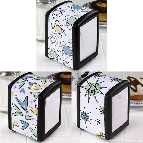 Googie style designs on napkin holders