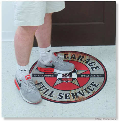 Retro style foor decals stand up to foot traffic