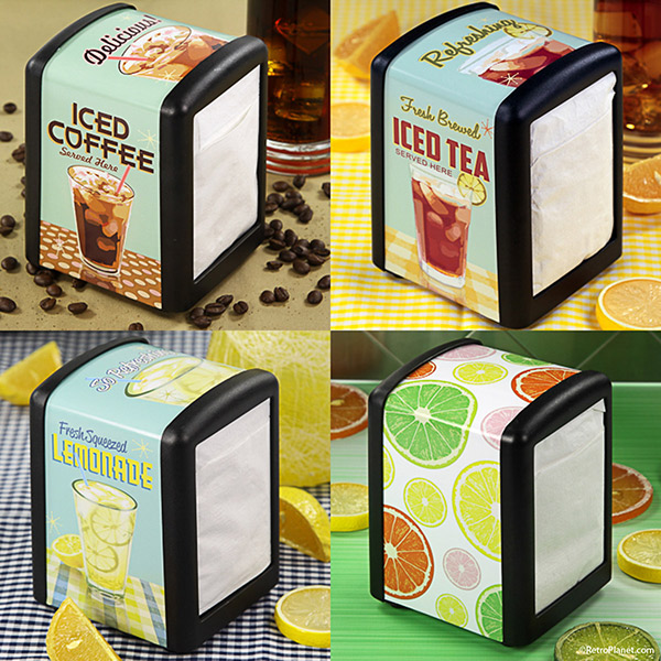 Iced drinks and fruit napkin holder designs