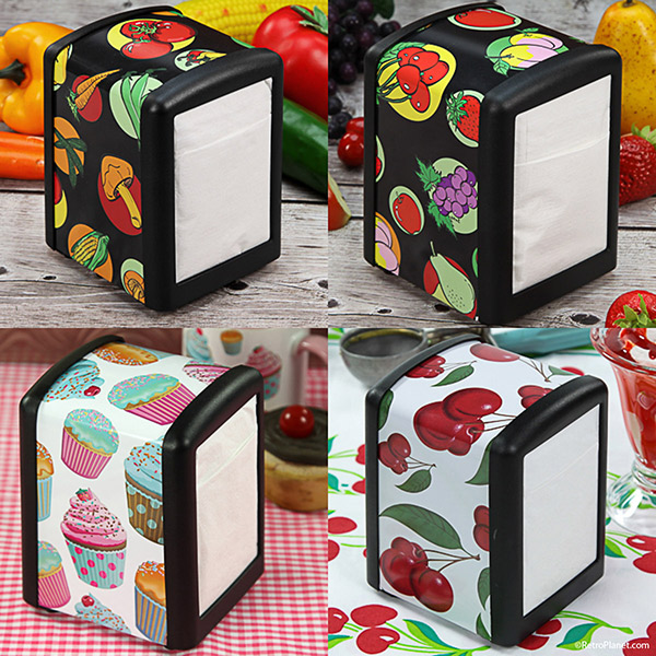 Vegetables, fruit and cupcake napkin holders