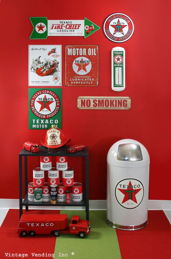 Example of decorating with Texaco themed decor.