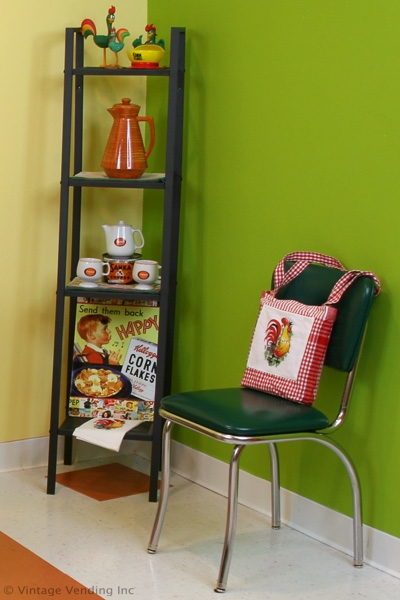 Kitchen shelves with functional decor.