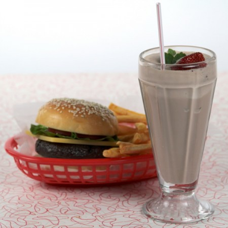 Chocolate Milkshake with Burger and Fries