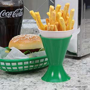 Green deli basket and matching green cup holder