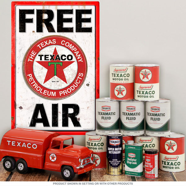 Texaco Air Pump Sign with oil cans and truck