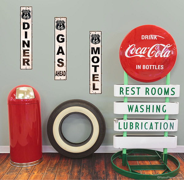 Diner gas and motel wall decals