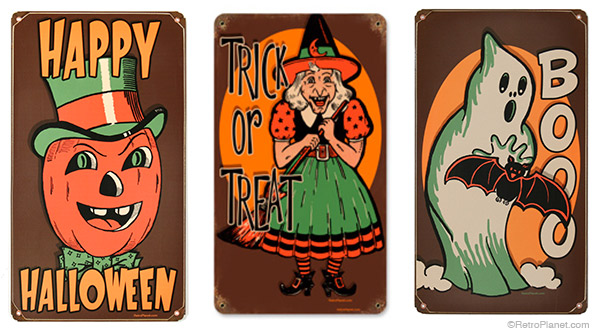 vintage style halloween signs will put some boo into your home decor - Vintage Style Halloween Decorations