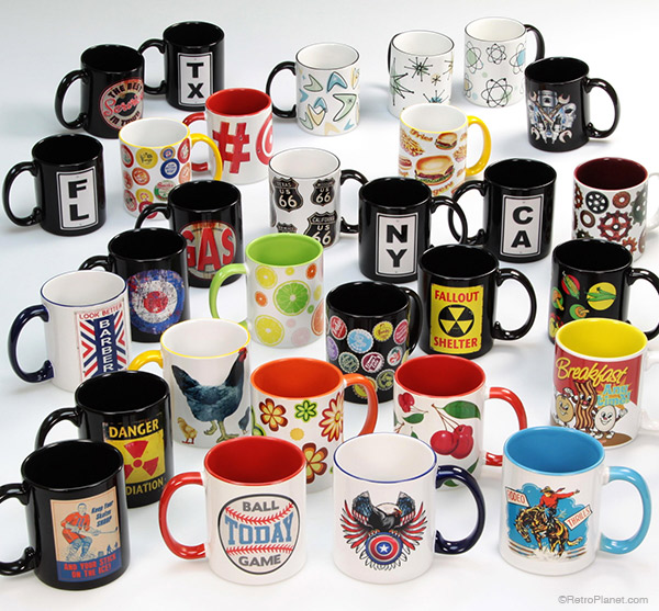 Retro Planet designed coffee mugs