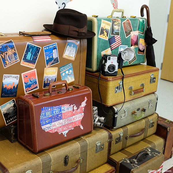 Travel Stickers on Vintage Suitcases