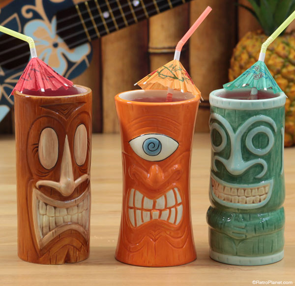Assorted tiki mugs