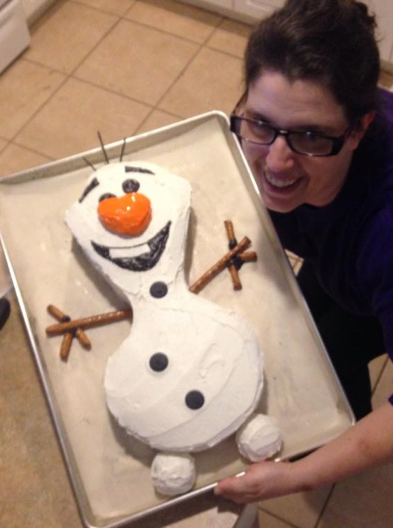 Pic of Pamela with Olaf cake.