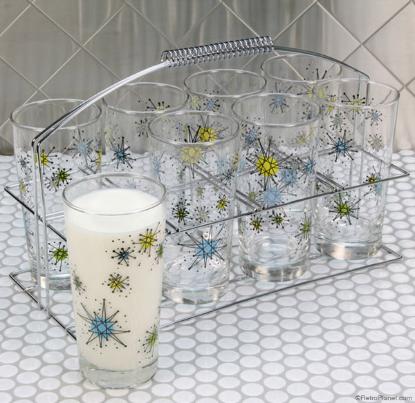 Reproduction Atomic Starburst Drinkware Designs from Retro