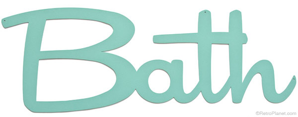 Light Green Script Bath Sign