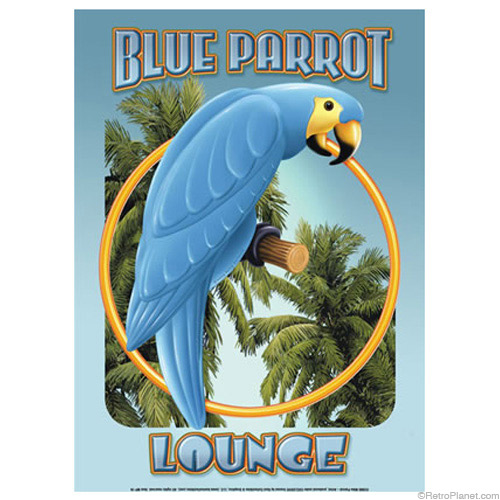 The Blue Parrot Lounge Sign has artwork in a shade of blue like that of Pantone's Scuba Blue.